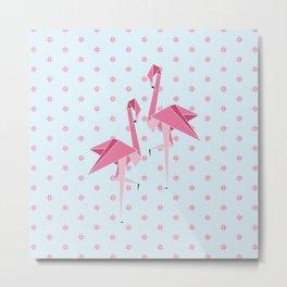 Origami Flamingo Metal Print