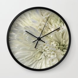 Ivory White Feathery Mums Floral Photo Wall Clock