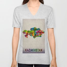 Kazakhstan Map in Watercolor Unisex V-Neck