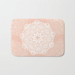 Seashell Mandala Coral Pink and White by Nature Magick Bath Mat