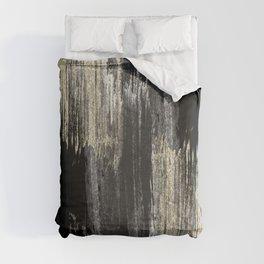 Abstract modern black gray gold glitter brushstrokes Comforters