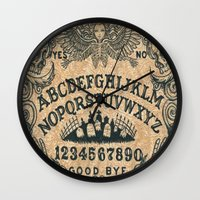 ouija Wall Clocks featuring Ouija Board by ezmaya