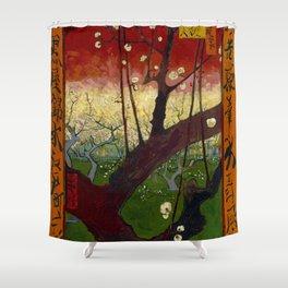 "Vincent van Gogh ""Flowering plum orchard - near Hiroshige"" Shower Curtain"