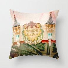 Jules Verne Carousel Art  Throw Pillow