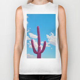 Pink Saguaro Against Blue Cloudy Sky Biker Tank