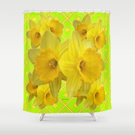 Lime Color & Yellow Daffodils Pattern Art Shower Curtain