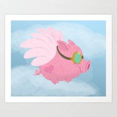 Flying Pink Pig Art Print