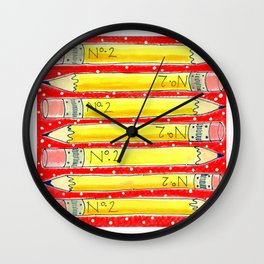 Freshly Sharpened PENCILS by Jenny Elkins Wall Clock