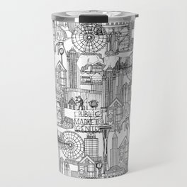 Seattle black white Travel Mug