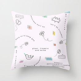 Hello Pollinators Throw Pillow