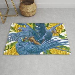Hyacinth macaws and bananas Stravaganza. Rug