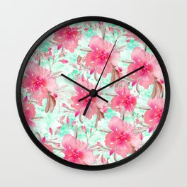 Hot pink turquoise hand painted watercolor floral Wall Clock