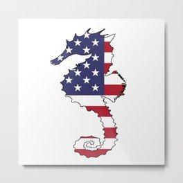 "Seahorse ""American Flag"" Metal Print"