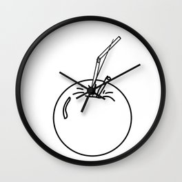 an Apple and a straw ( https://society6.com/totalflora/collection ) Wall Clock