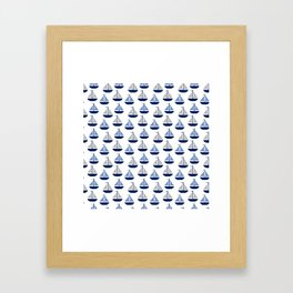 Nautical Sailboat Navy Blue Gray  Framed Art Print