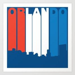 Red White And Blue Orlando Florida Skyline Art Print