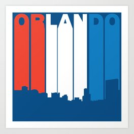 Red White And Blue Orlando Florida Skyline Art Print