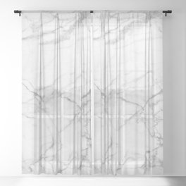 White & Gray Marble Texture Print Sheer Curtain