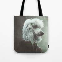 poodle Tote Bags featuring Poodle by womoomow