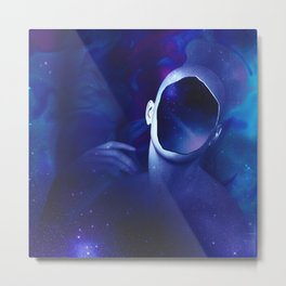 Surrounded by starry space in human head Metal Print