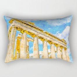 Parthenon Watercolor Digital Painting Rectangular Pillow