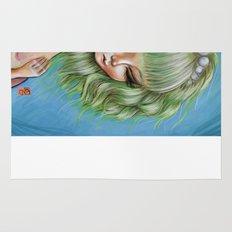 Green petals - Pop Surrealism Illustration Rug