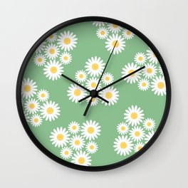 Spring white daisies triangles pattern on green Wall Clock