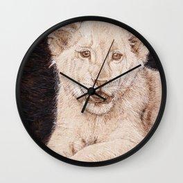 Lion Cub Portrait - Drawing by Burning on Wood - Pyrography art Wall Clock