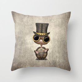 Cute Steampunk Baby Turtle Throw Pillow