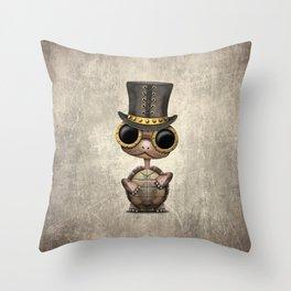 Cute Steampunk Baby Turtle Throw Pillow
