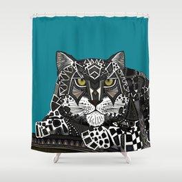 snow leopard teal Shower Curtain