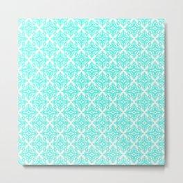 Damask (Turquoise & White Pattern) Metal Print