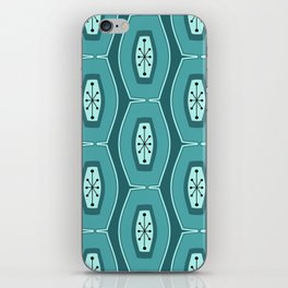 Midcentury Funky Chain Pattern Teal iPhone Skin