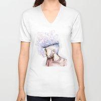 zayn V-neck T-shirts featuring Smokey Zayn by Aki-anyway