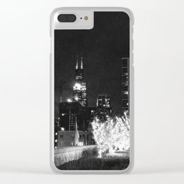 Sears Tower Night Black & White Clear iPhone Case