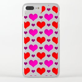 Love Hearts Pattern Clear iPhone Case