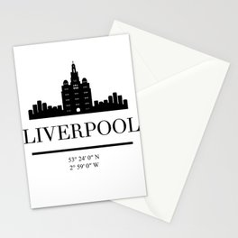 LIVERPOOL ENGLAND BLACK SILHOUETTE SKYLINE ART Stationery Cards