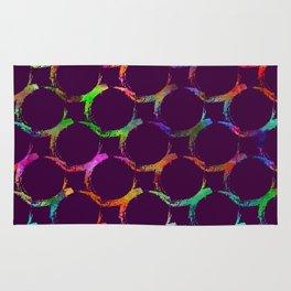 Rainbow mermaid bubble circle brush print Rug