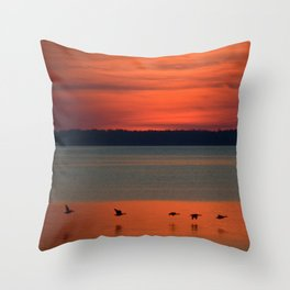 A flock of geese flying north across the calm evening waters of the bay Throw Pillow