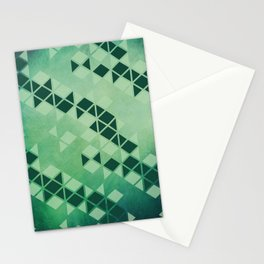 Forest Green -  Geometric Triangle Pattern Stationery Cards