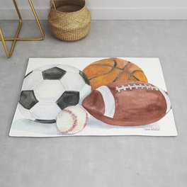 Sports Balls Watercolor Painting Rug