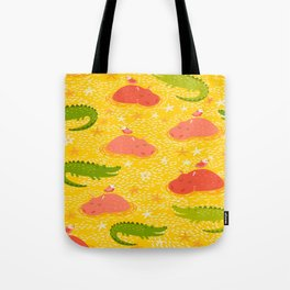 Cute african animals seamless pattern.Crocodile, hippo, hipo Tote Bag