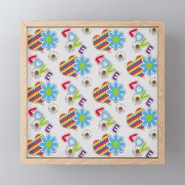 Hippie Heart Rainbow Print in Gray Framed Mini Art Print