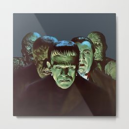 Famous Monsters Gang Metal Print