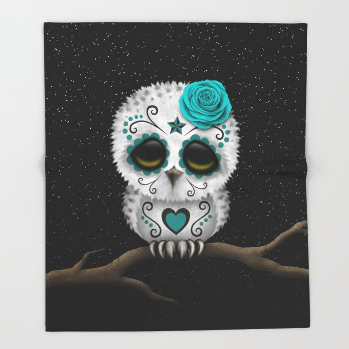 Adorable Teal Blue Day of the Dead Sugar Skull Owl Throw Blanket