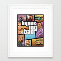 gta v Framed Art Prints featuring Breaking Bad: GTA  by Messypandas