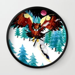 Owl and Steam Train Wall Clock