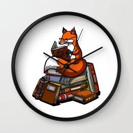 Cute Fox Reading Book Wall Clock