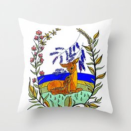 Doe And Fawn In Wildflowers Throw Pillow