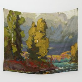 Tom Thomson Poplars by a Lake 1916 Canadian Landscape Artist Wall Tapestry